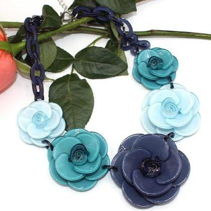 Navy Blue Necklace for Women Floral..