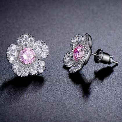 AAA CZ Diamond Flower CZ Luxury Ear..