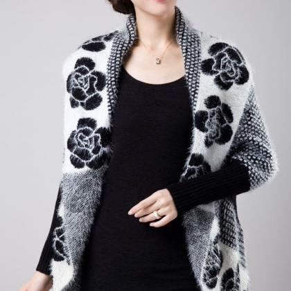 Black Cardigan Women's Crochet Moha..