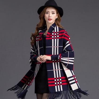 Navy Blue Loose Outerwear Capes Ove..