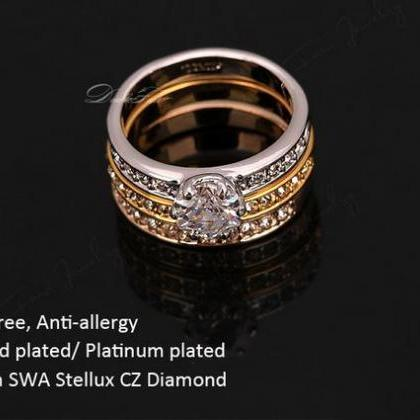 Stackable Rings Set 3 Round Diamond..