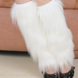 White Fur Leg Warmer-40cm High Shoe..