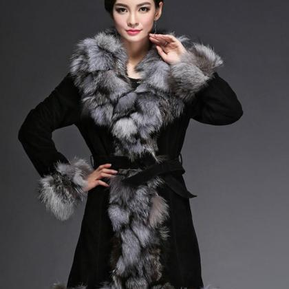 Genuine Leather Coat for Winter Bla..