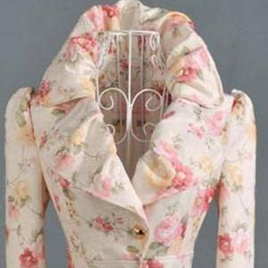 Off White Floral Trench Coats-Print..
