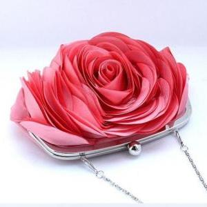 Big Rose Clutch-Pink Big Rose Shoul..