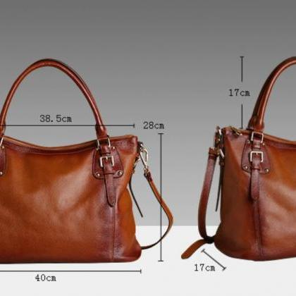 Genuine Leather Handbags Luxury Bro..
