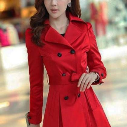 Long Red Trench Coat Lace For Women-Red Blazer Red Jacket Trench ...