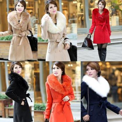 Red Coat Rich Fur Collar Winter Ove..
