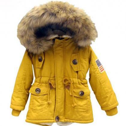 Yellow Parka Jacket For Toddler Boys With Faux Fur Yellow Hoodies