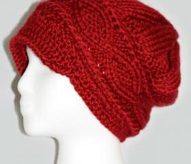 Red Knitted Burgundy Hat for Women-Newsboys Hat for Women and Teen Girls