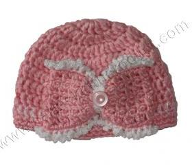 Newborn Girls Pink Bow Hat - Toddlers Pink hat for Girls