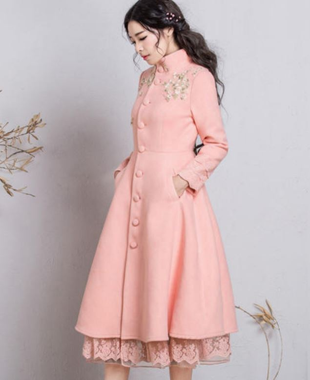 Pink Overcoats for Women Pink Dress Coats Ruffled Winter Dress with Stand Collar Warm, Thick Coats