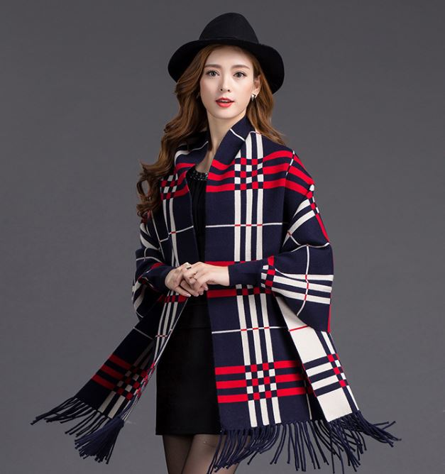 Navy Blue Loose Outerwear Capes Oversize Knitted Cashmere Navy Blue Poncho Capes Lattice With Tassels