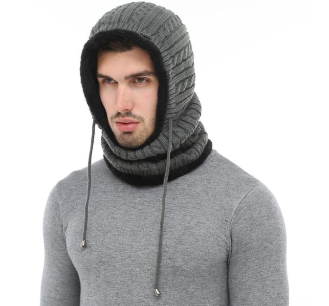 One Piece Gray Winter Hats for Men Wool Knitted with Matching Attached Neck Warmers for Men