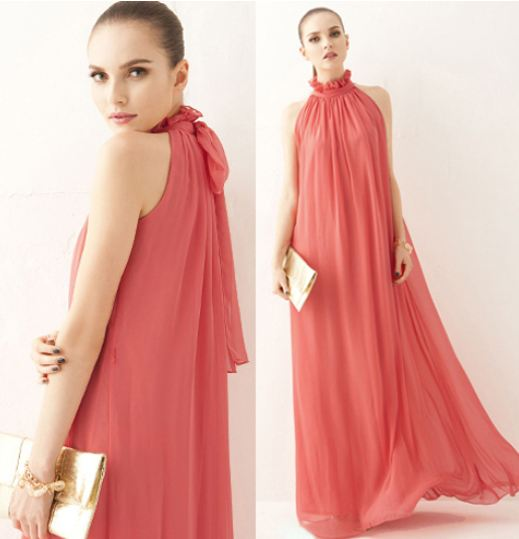 Strawberry Color Dress Red Maxi Dress for Women Floor Length Ankle Length Dress