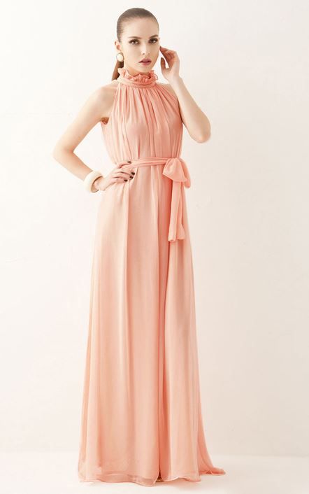Peach Maxi Long Dress For Women High Quality Free Shipping Peach ...