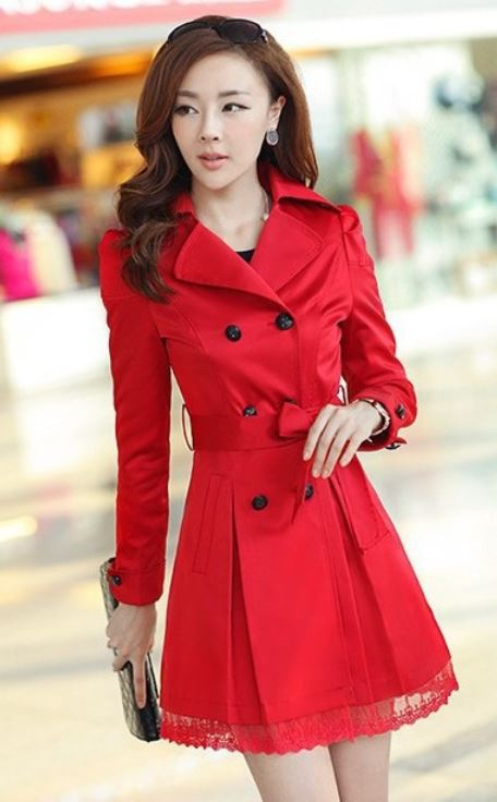 Red Coat Fashion Trench Winter Coat For Women-Women Red Coat ...