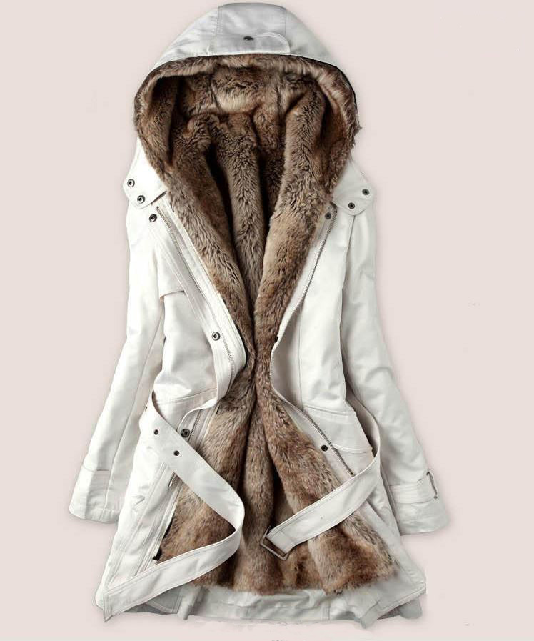 READY FOR SHIPPING Fur Coats White Parka Jacket with Super Smooth Thick Faux Fur Lining for Women