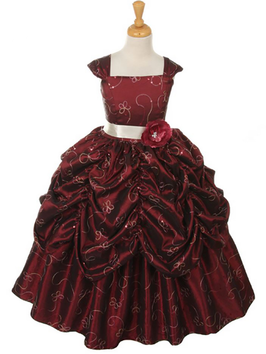Burgundy dress formal wear toddler junior teen girls for Dresses to wear to a wedding for teens