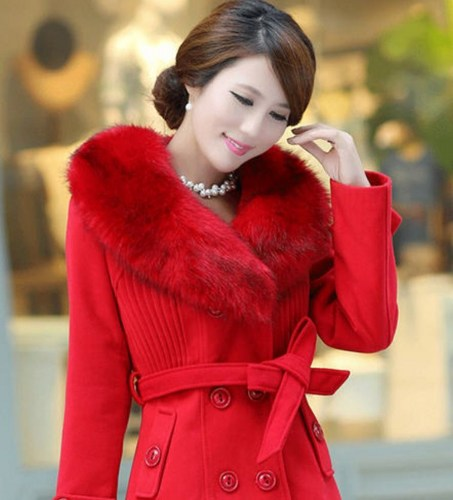 Red Coat Rich Fur Collar Winter Over Coats Red Woolen Jackets on ...