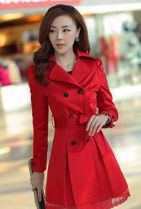 Large Size Red Trench Coats For Women Free Ship And Ready To Ship ...