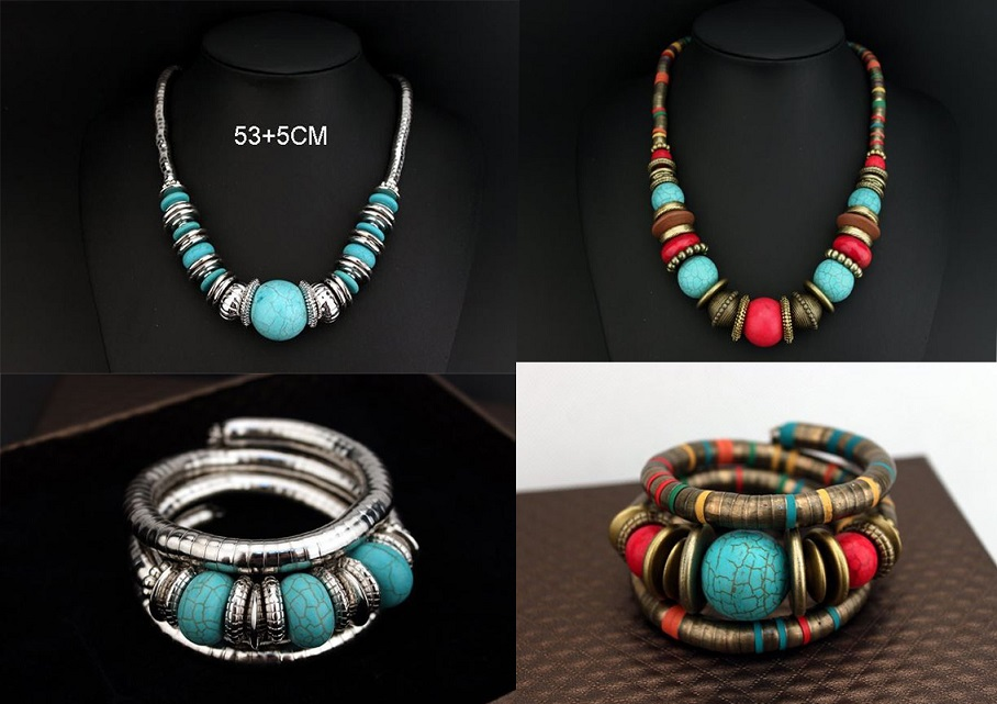 Womens Turquoise Jewelry Sets Colorful Vintage Necklace and Bracelet Jewelry Set