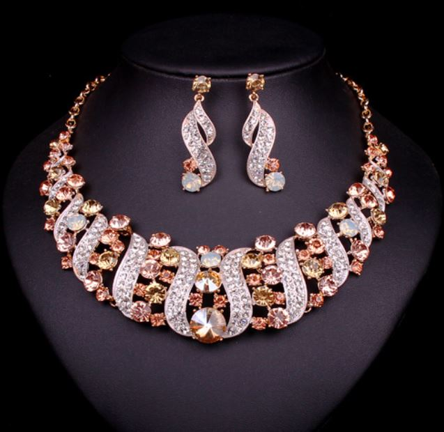 Champagne bridal jewelry sets statement choker necklace for Jewelry for champagne wedding dress