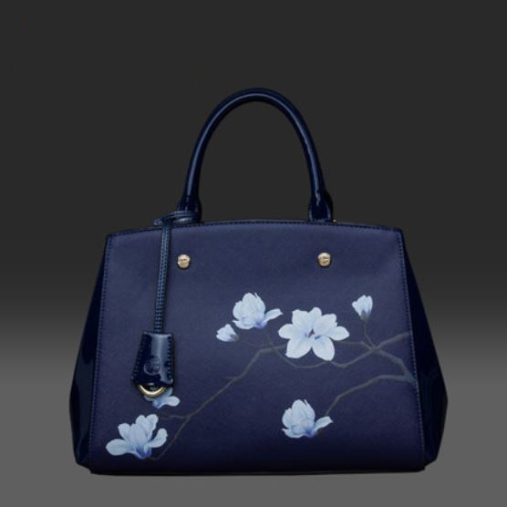 Navy Blue Bag Floral High Quality Fashion And Luxury Tote Navy Blue Purse Women On Luulla