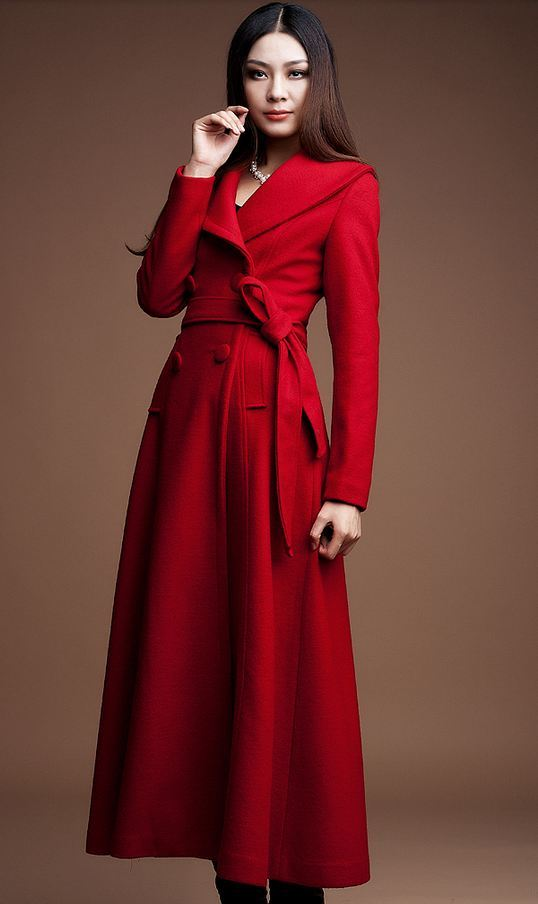 Red Maxi Dress Coat For Women Red Winter Jacket For Women Ultra ...