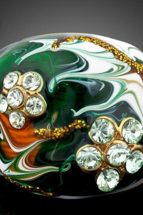 Luxury Ring for Women Green Stellux Austrian Crystal Floral Oil Painting Pattern