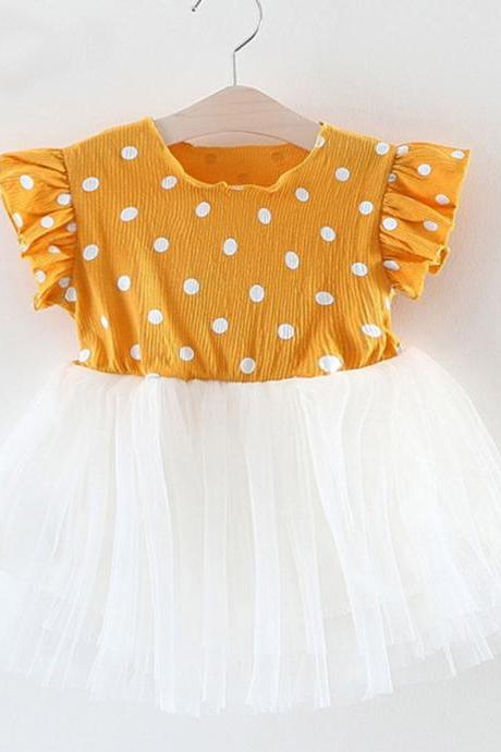 Yellow Dress for Baby Girls Princess Polka Dot Baby Dresses Ruffled Yellow Dress