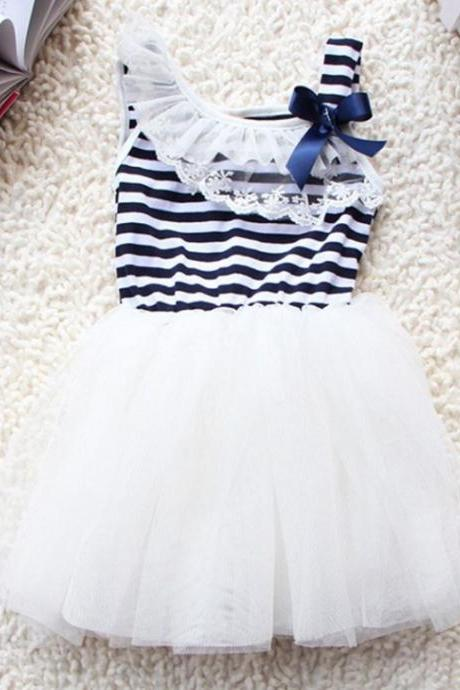 White Dress Striped Off Shoulder Baby Dress for 18-24 Months Laced Tutu Dress