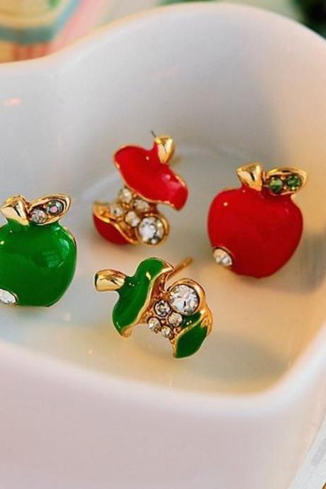 Red Apple Earrings for Little Girls Red Apple Fruit Earrings for Teens