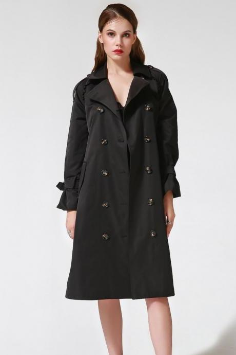 Black Parka for Women Black Trench Coats Women Fashion Black Trench Coats Spring Black Coat