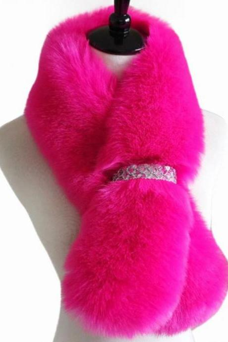Pink Scarf Pink Scarves Faux Fox Fur Super Quality and Super Soft Scar
