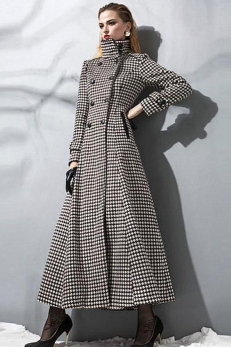 Black Coats Black Parka Double Button Jackets Slim Turn Collar Outwear Plaid Solid Overcoats S-2XL