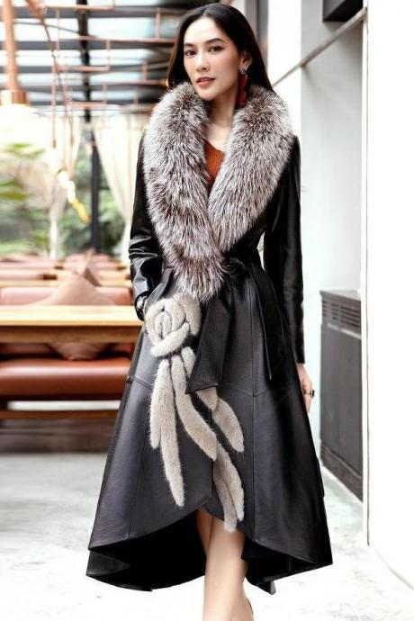 New Trend Black Trench Coats Manteau Femme Winter Black Leather Overcoats for Women Size S-2XL