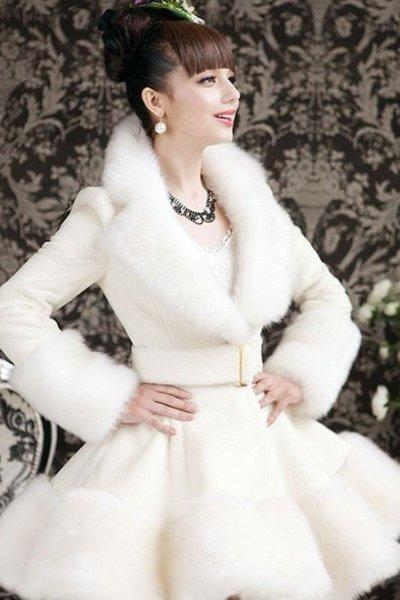 Size XL Bridal White Coat Winter Faux Fur Skirted White Trench Coats for Women Ready to Ship