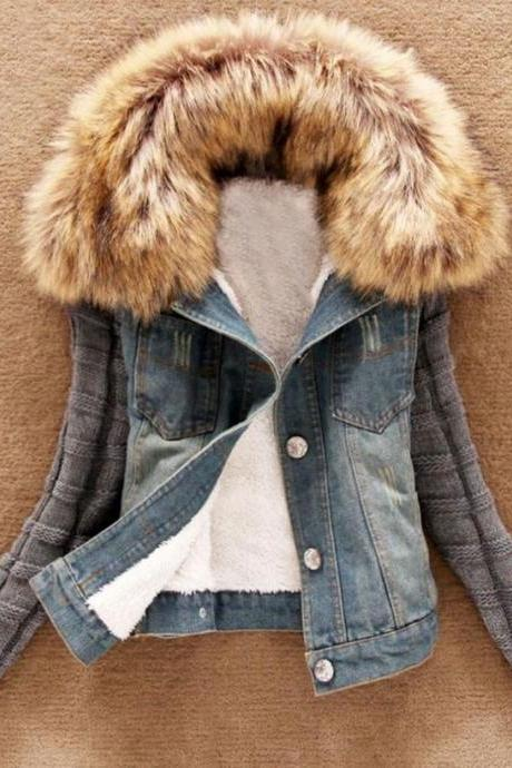 Denim Fur Jacket for Women with Detachable Thick Fur Lamb Collar