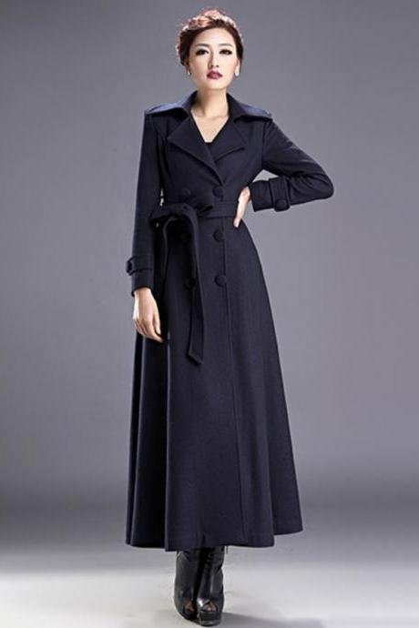 Women Outerwear Long Trench Coat Navy Blue Parka Jacket for Women Blue Trench Coats Winter Wool Coats and Jackets