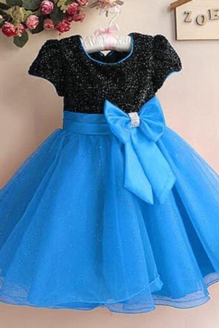 Blue Girls Dress Formal Wear Party Dress for Girls Dress with Bow pageant Infant Girls Dress