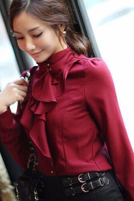 Work Office Blouse for Women Red Tops Spring Blouse Red Blouse Ruffled Style Long Sleeve