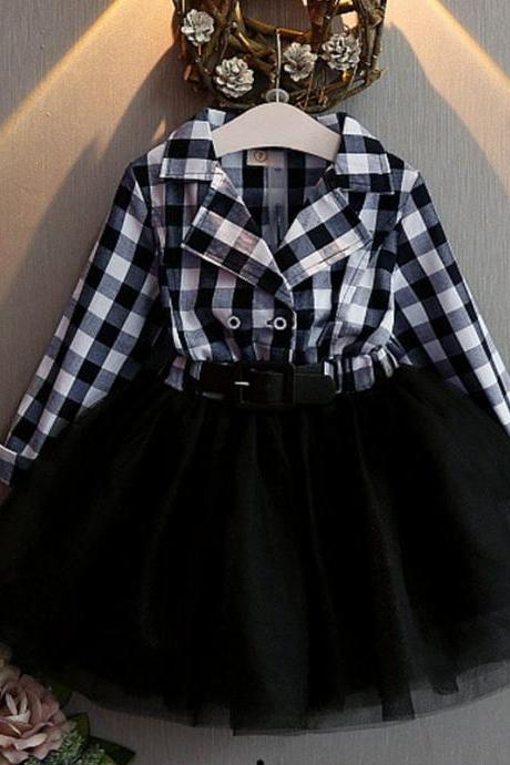 Buckaroo Cowgirl Black Dress Black tutu Dress Black Checkered Dress Party Dress