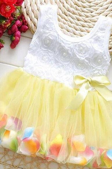 18-24 Months Yellow Dress with Petals in the Hem and Pearls Decoration-Infant Yellow Baby Girls Dress Spring Dress