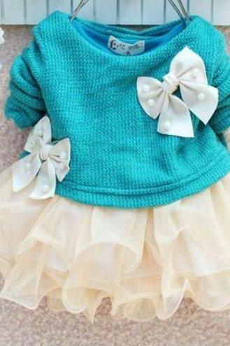 Preemie Girls Preemie Baby Dress Long Sleeve Aqua Blue Tutu Dresses with Bows