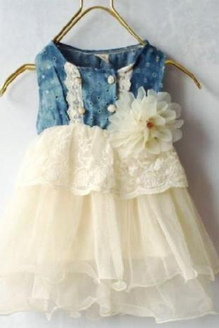 Infant Girls Ivory Tutu Dress Denim Lace Waist With Ivory Corsage 3T Denim Dress