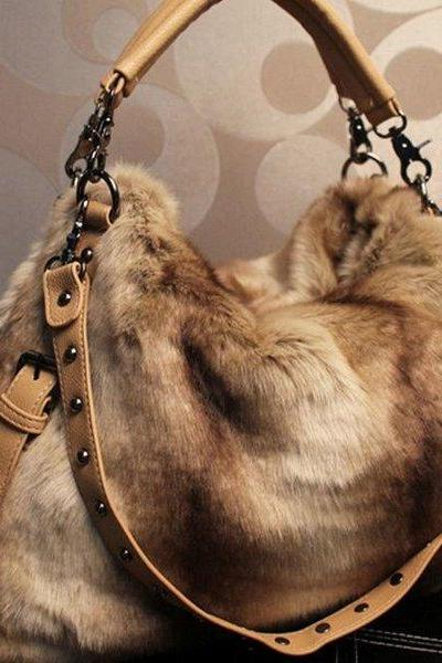 Brown Large Bag Multipurpose Fashion Faux Fur Purse Tote Bag For Women