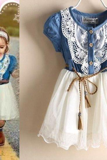 Denim Dress for 3T Girls Costume Cowgirl Rodeo Festival in Texas Entertainment Cowgirls Outfit