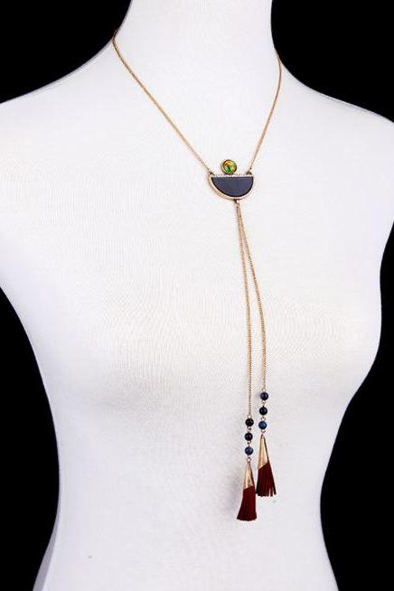 Concise Style Geometric Pendant Retro Alloy Long Leather Red Tassel Pendants