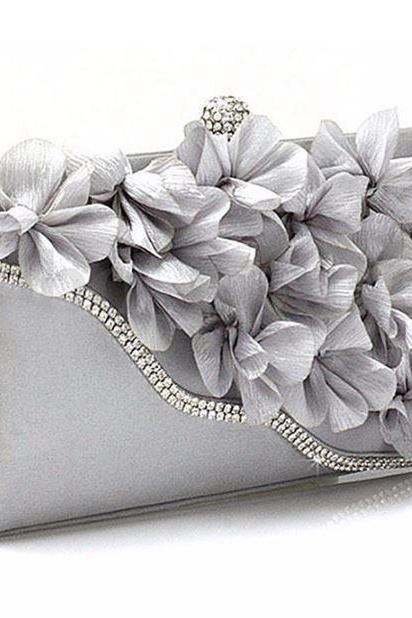 Silver Bridesmaids Pearl Clutch-Luxurious Shoulder Bag Floral Bag Clutch- Evening Purse for Women